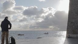 Traveller Sea Morning stock footage