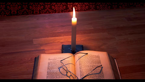 Candle Flame with book and glasses Animation