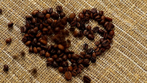 Heart From Coffee Beans stock footage