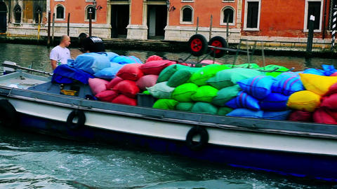 Shot Of Colorful Sacks In A Boat, Grand Canal, Ven stock footage