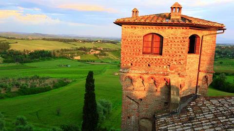 Tilt Up Shot Of A Castle, Castello stock footage