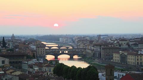 Time lapse shot of a city, Ponte Vecchio, Arno Riv Footage