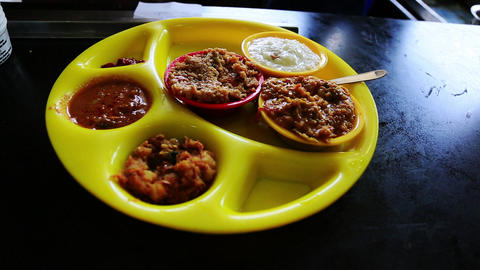 Locked-on shot of South Indian food, Chennai, Tami Footage