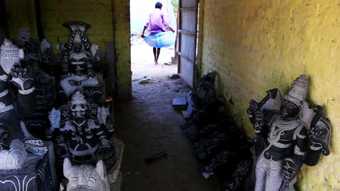 Pan shot of statues of Hindu god, Mahabalipuram, K Footage