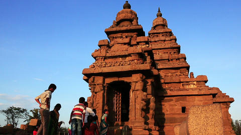 Zoom Out Shot Of A Temple, Shore Temple, Mahabalip stock footage