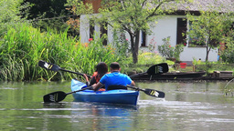 People kayaking in nature. Spreewald Live Action