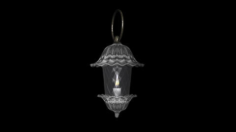 Crystal Lantern - White - Burning Loop - Alpha Stock Video Footage