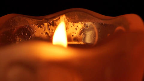 Romantic Candle - Red Glass - Loop Stock Video Footage