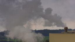 Chemical Factory With Smoke Stack, Air Pollution stock footage