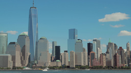 New York City Downtown Buildings Skyline Pan Acros stock footage