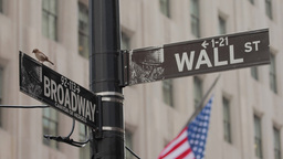 Wall Street And Broadway Street Sign In New York C stock footage