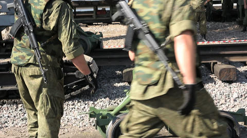 Soldiers and railway trolley Footage