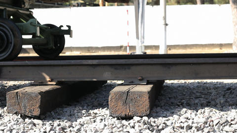 Military trolley on railway Footage