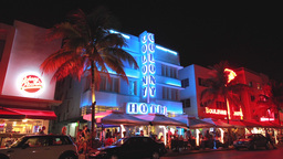 Miami South Beach Ocean Drive At Night stock footage
