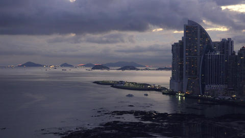 Panama City Trump Ocean Club Skyscraper Near Sea 4 stock footage