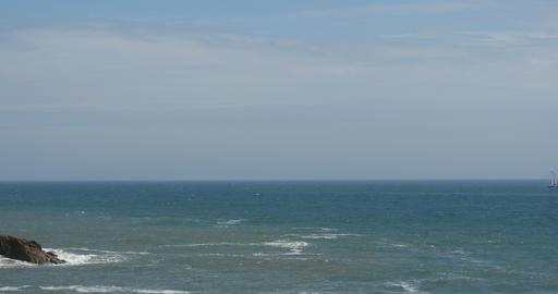 4k sparkling ocean sea water waves surface&coastal rock reef coast surge sho Footage