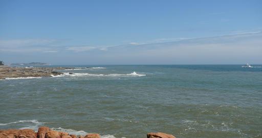 4k sparkling ocean sea water waves surface & coastal rock coast surge shore Footage