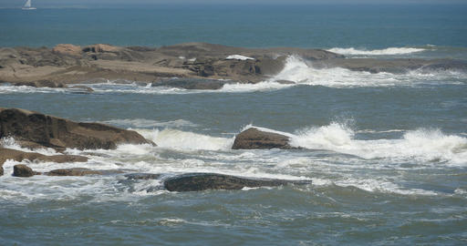 4k sparkling ocean sea water waves surface & coastal rock coast surge shore Footage