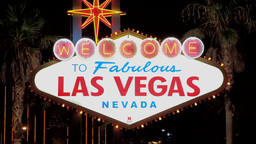 Welcome To Las Vegas Sign At Night Neon Rack Focus stock footage