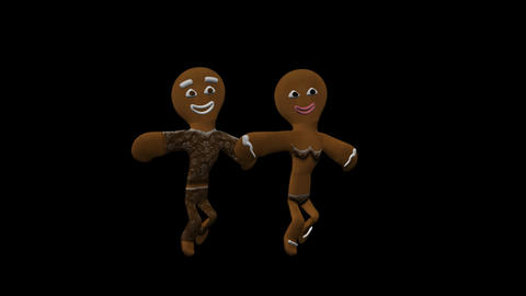 Gingerbread Dancers - Choco Pair - I - Alpha Stock Video Footage