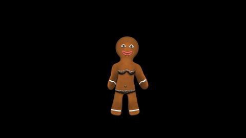 Gingerbread Dancer - Choco Girl - 2 - Loop - Alpha stock footage