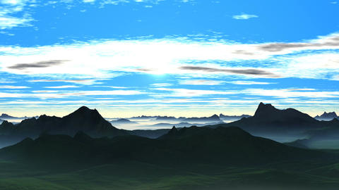 Sunrise over the misty hills Animation