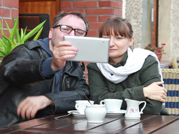 Young couple taking picture with a tablet computer Footage