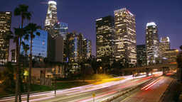 Los Angeles Timelapse At Night Zoom In stock footage