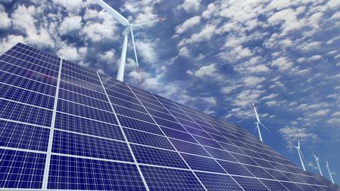 Solar panels and wind turbines Animation