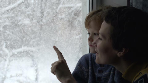 Blizzard Outside The Window stock footage