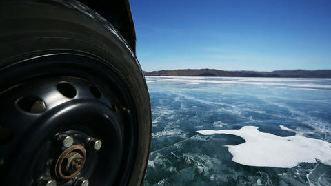 Drive the Car Across the Frozen Lake Baikal Footage