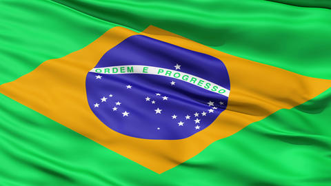 Realistic 3d seamless looping Brazil flag waving in the wind Animation