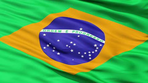 Realistic 3d seamless looping Brazil flag waving in the wind Stock Video Footage