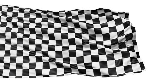 Realistic 3d seamless looping checkered flag waving in... Stock Video Footage