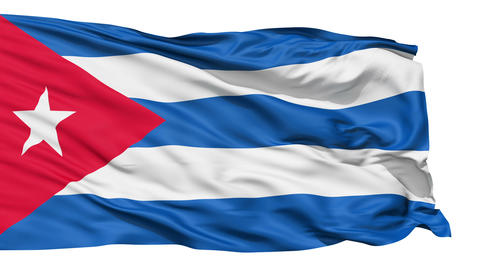 Realistic 3D detailed slow motion Cuba flag in the wind Animation