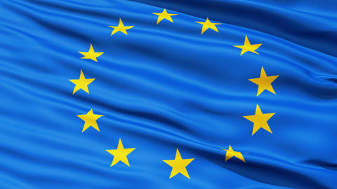 Realistic 3d seamless looping Europe flag waving in the wind Stock Video Footage