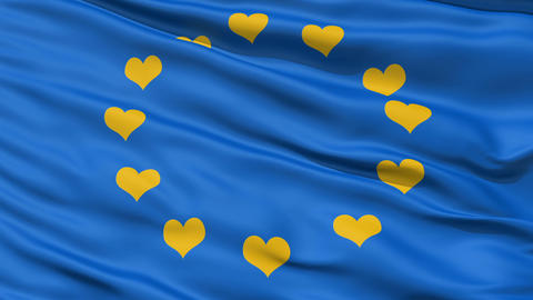 Realistic 3D detailed slow motion Europe love flag in the wind Animation
