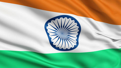 Realistic 3d seamless looping India flag waving in the wind Stock Video Footage