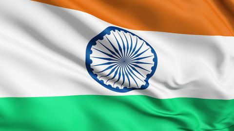 Realistic 3d Seamless Looping India Flag Waving In The Wind stock footage