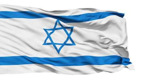 Realistic 3D detailed slow motion israel flag in the wind Animation
