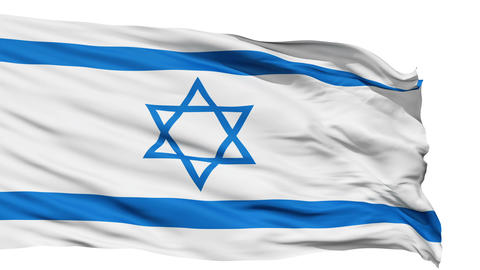 Realistic 3D detailed slow motion israel flag in the wind Stock Video Footage