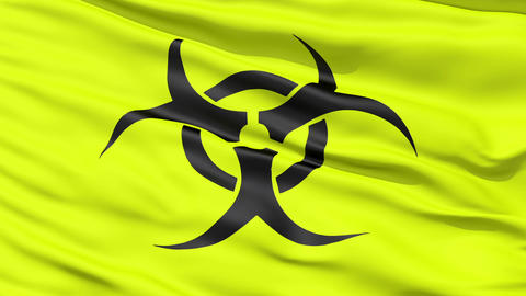 Yellow Biohazard Symbol Wavy Fabric Stock Video Footage