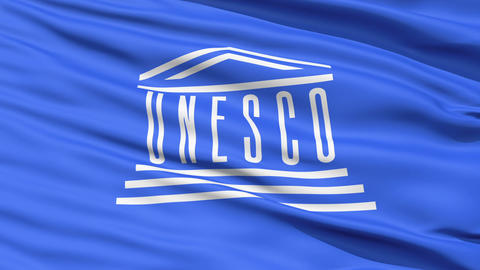 UNESCO Waving Flag Stock Video Footage