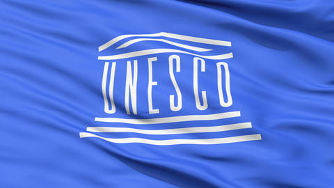 UNESCO Waving Flag Stock Video Footage