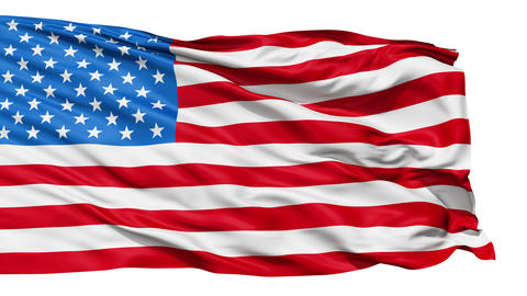 Realistic 3d Seamless Looping USA Flag Waving In The Wind stock footage