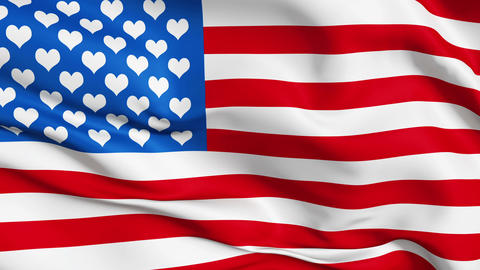 Realistic 3d seamless looping USA-love flag waving in the wind Animation