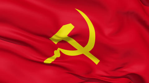 Realistic 3d seamless looping USSR flag waving in the wind Animation