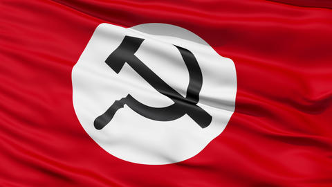 Realistic 3D detailed slow motion Union of Soviet Socialist Republics flag in the wind Animation