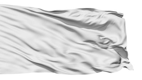 Realistic 3D detailed slow motion white flag in the wind Animation