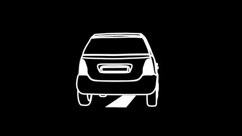 Car animation on the road outline black background Animation